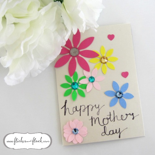 Bright DIY paper flower card for Mum