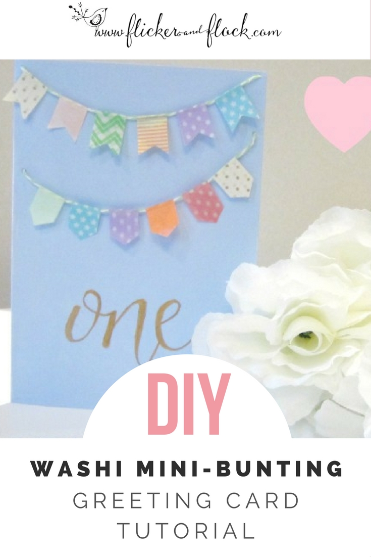 DIY mini-bunting handmade greeting card tutorial.