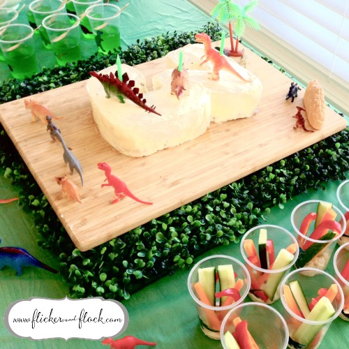 Amazing dino cake + jelly slime + herbivore vege sticks with hummus.