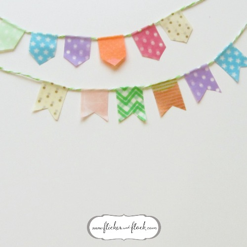 DIY bunting card - my little washi bunting all ready to thread onto the card