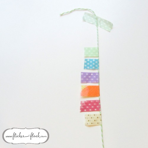 DIY bunting card - step 5, a little row of washi