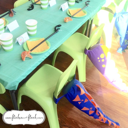 Dinosaur party table setting complete with handsewn dino tails!