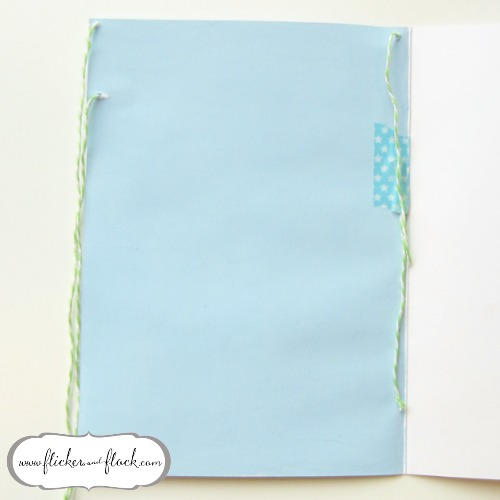 DIY bunting card - threading the bunting