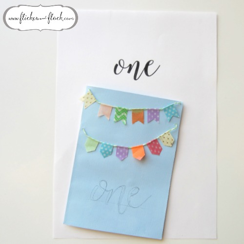 DIY bunting card - writing