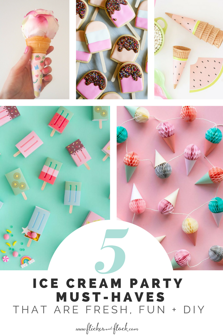 Love these ice cream party ideas + FREE printable ice cream wrapper download.