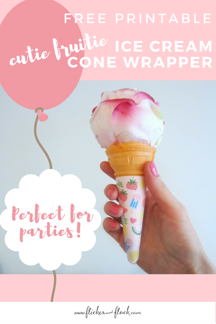 FREE printable ice cream cone wrappers, in pink with a tropical theme.