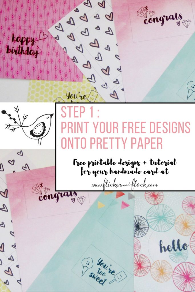 Free printable designs and tutorial for 4 greeting cards that anyone can handmake.